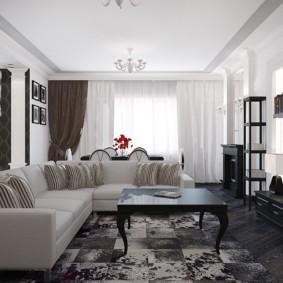 Угловой диван с обивкой светлого цвета