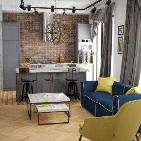 Серые шторы в кухне гостиной