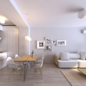 Зонирование комнаты балкой на потолке