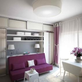 Фиолетовый диванчик раскладной конструкции