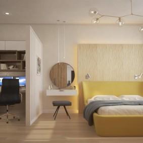 Дизайн женской спальни с рабочим местом