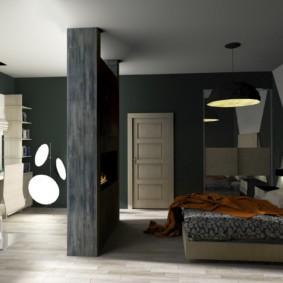 Зонирование современной спальни перегородкой