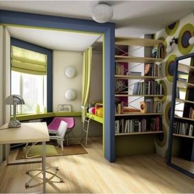 Стеллаж для книг в детской спальне