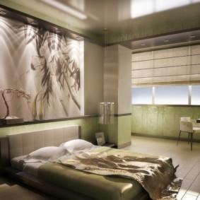 Спальня с рабочим местом на балконе