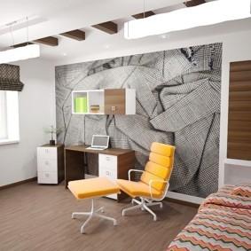 Декор стны спальни с рабочим кабинетом