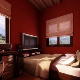 Бардовые стены спальни с рабочим столом