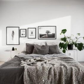Фото в интерьере спальни с панорамным окном
