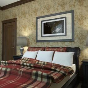 Шотландская клетка на текстиле в спальне