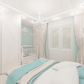 Белые занавески в интерьере спальни