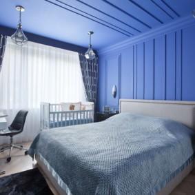 Интерьер спальни в синем цвете