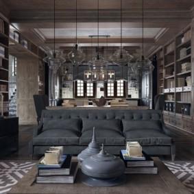 Серый диван в кухне-гостиной стиля арт-деко с лофтом