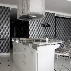Островная вытяжка в кухне-гостиной