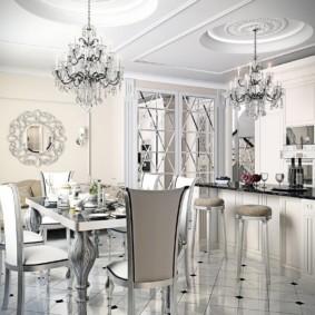 Светлая кухня-гостиная в стиле арт деко