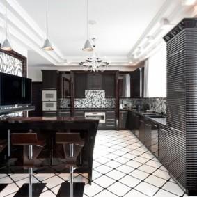 Ребристые фасады кухонного шкафа