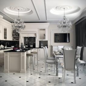 Гипсовая лепнина на потолке кухни-гостиной