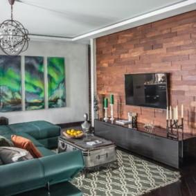 Деревянная панели на стене кухни гостиной