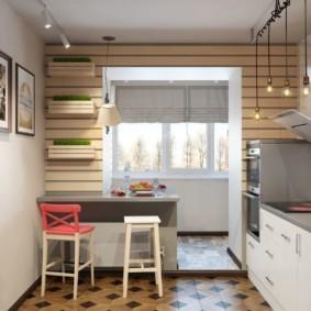 Подвесные ящики с зеленью на стене кухни