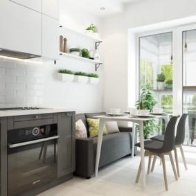 Серая мебель в светлой кухне