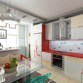 Красная столешница кухонного гарнитура