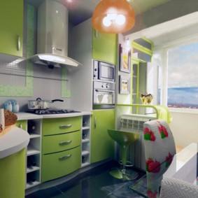 Салатовые фасады кухонной мебели