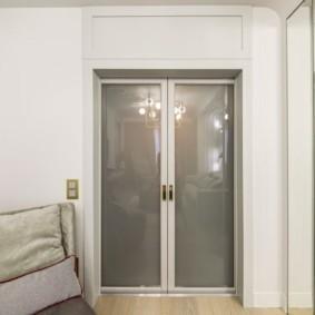 Двустворчатая дверь из закаленного стекла