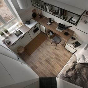 Вид сверху на интерьер однокомнатной квартиры