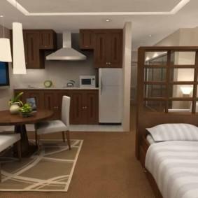 Коричневая мебель в однокомнатной квартире