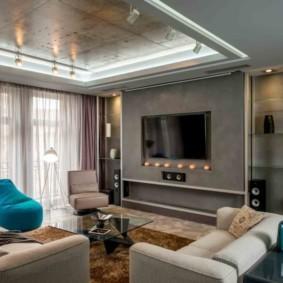 Интерьер жилой комнаты в серых тонах