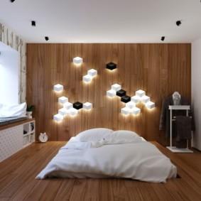 Брутализм в интерьере спального помещения