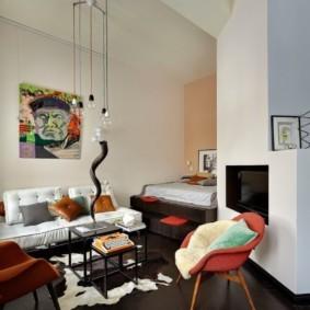 Гостиная зона в квартире-студии