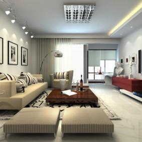 Освещение просторной комнаты в квартире-студии