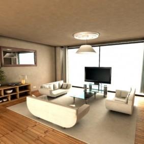 Большая гостиная с панорамным окном