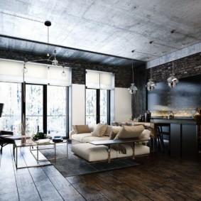 Бетонный потолок в однокомнатной квартире