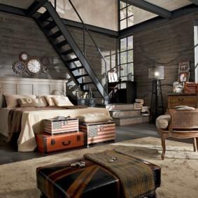 Гостиная с лестницей в стиле лофт