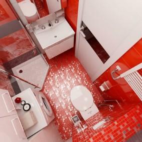 Красный пол в совмещенной ванной
