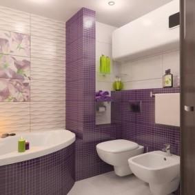 Фиолетовая керамика в интерьере ванной