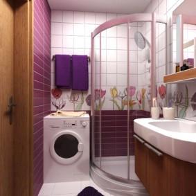 Место для стиральной машинки в маленькой ванной