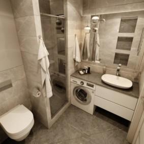 Душ в нише ванной комнаты современного стиля