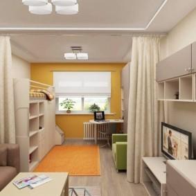 Зонирование шторами однокомнатной квартиры