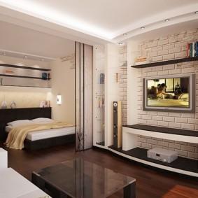 Интерьер комнаты в небольшой квартире