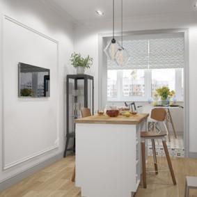 Остров на кухне в однокомнатной квартире