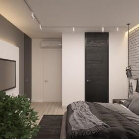 Интерьер комнаты в сером лофте