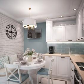 Освещение современной кухни с Г-образным гарнитуром