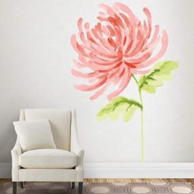 Рисунок цветка акварельными красками