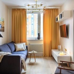 Желтые шторы в интерьере квартиры