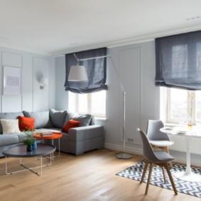 Зонирование кухни гостиной небольшим ковриком