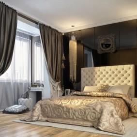 Темно-серые занавески в спальной комнате
