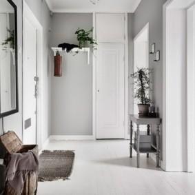 Светло-серые стены прихожей в квартире
