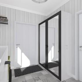 Дизайн коридора с зеркальным шкафом