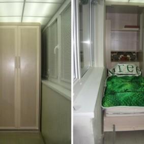 Шкаф-кровать в интерьере балкона